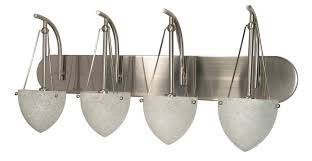 Brushed Nickel Bathroom Vanity Light by Nuvo 60 137 Four Light Vanity With Water Spot Glass Brushed