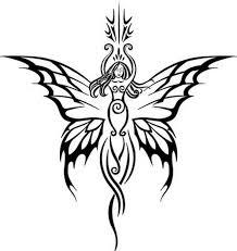 black tribal butterfly tattoos design