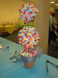 lovely candy decoration ideas with colorful details and blue sheer