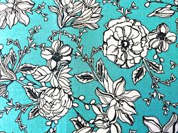 turquoise and white floral fabric cotton quilting fabric apparel