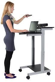 mobile standing desk computer workstation black desk length