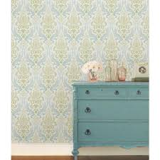 Peal And Stick Wallpaper Nuwallpaper 30 8 Sq Ft Blue Florentine Tile Peel And Stick