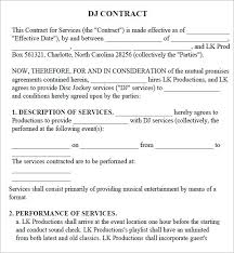dj contract sample mobile dj service entertainment contract