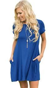blue short sleeve loose flared casual dress mb220000 5 u2013 modeshe com