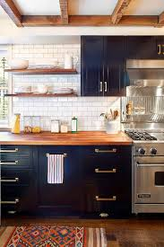 blue kitchen cabinets with wood countertops child studio i d live here m o n d a y s butcher