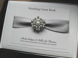 wedding guest book guest book vintage pearl diamante brooch with satin ribbon