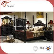Antique Bed Set Furniture European Style Solid Wood Carving Antique Bedroom Furniture