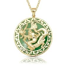 dragon jade necklace pendant images Shop 14k yellow gold 16 inch green jade large dragon circle jpg