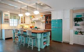 Grey And Turquoise Kitchen by 15 Gorgeous White Kitchens With Coloured Islands The Happy Housie