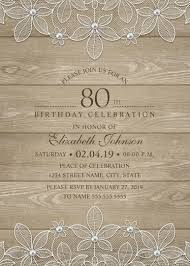 Bible Study Invitation Cards Rustic Wood 80th Birthday Invitations Lace And Pearls Party