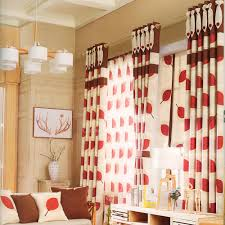 high quality red leaf pattern curtains for contemporary living