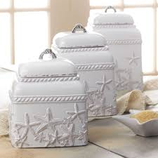 starfish kitchen canisters white set of three coastal theme