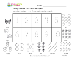 6 best images of kindergarten printable counting 1 10 worksheets
