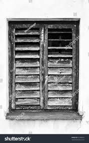 old broken window wooden blinds black stock photo 81280624