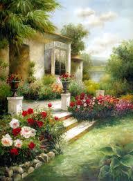 porch garden original oil painting artist unknown size 48 high