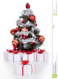 small christmas tree with lots of presents stock image image