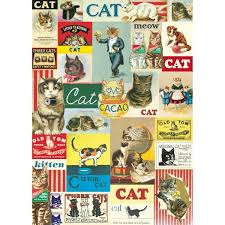 comic wrapping paper vintage cats wrapping mod podge paper sheet cat lover gift wrap