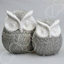 owl ornaments of 2 large small scratched silver white owl ornaments
