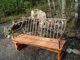 Outside Benches Home Depot by Repurposed Wood With A Copper Piping Back Rest Love It U0027s On My