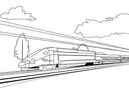 High Speed Train On Sunny Day Coloring Page High Speed Train On Coloring Pages For High