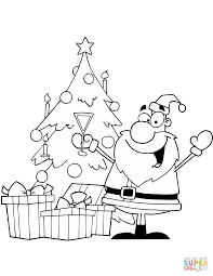 santa drinking champagne by a christmas tree coloring page free