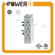 2 side entry 6 way electrical socket outlet splitter in wall tap