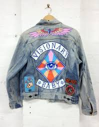 jacket iron on patches colorful letters blue jean jacket