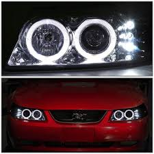 mustang projector headlights amazon com ford mustang sn 95 dual halo projector led headlight