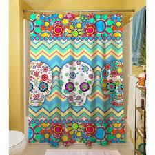Sugar Skull Bathroom Sugar Skull Chevron Box Shower Curtain Free Shipping Today