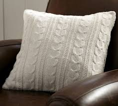 pottery barn cozy cable knit pillow sale setting for four