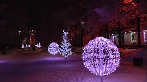 brilliant artificial trees and glowing balls in the