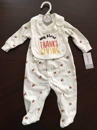 baby s thanksgiving turkey pajamas bib sizes 3 month