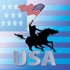 The America Flag Man Riding Mustang Horse Carrying The American Flag Vector Image