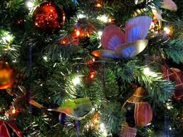 moving butterfly ornaments on tree at kidani