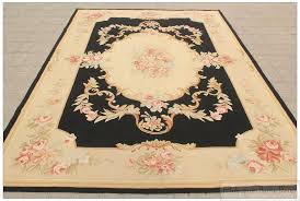 Area Rugs 5 X 8 5x8 Aubusson Area Rug Black Cream Pink Rose Floral Wool Handwoven