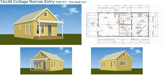 Backyard Cottage Plans 16x34 Cottage Narrow Entry 544 Sq Ft Tiny Cabin Tiny Small