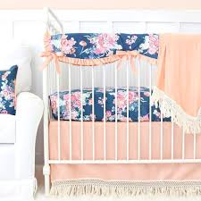 Navy And Coral Crib Bedding Coral Crib Bedding Baby Bedding Caden Tagged