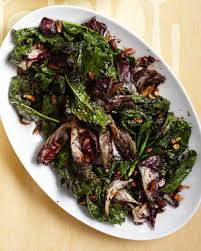 grilled kale and radicchio with almonds and balsamic orange glaze