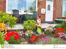 small garden in front of the dutch house stock image image