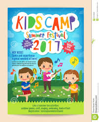 kids summer camp education poster flyer stock vector image 85536860