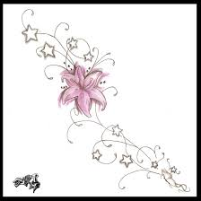 lily flower and stars tattoos design