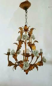 Vintage Antique Chandeliers Italian Vintage Antique Chandelier Gold Guilded Metal With Ceramic