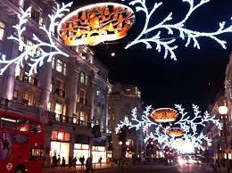 christmas lights along oxford street and regent street a little