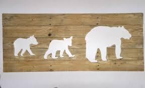 rustic bear family reverse cutout wall art home decor cubs