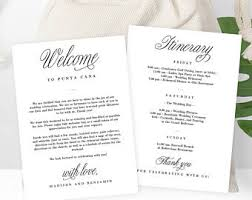 Wedding Itinerary Wedding Welcome Thank You Letter And Wedding Itinerary Diy