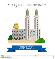 Dakar Senegal Map Mosque Of The Divinity In Dakar Senegal Flat Vecto Stock Vector