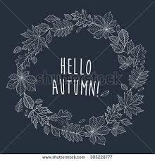 hello autumn autumnal frame wreath stock vector 305228777