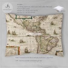 Old Map America Old Map Bedding Vintage Old World Map Duvet Cover Set