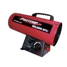 propane heater with fan protemp propane fan portable heater 60 000 btu 1 250 sq ft red pt
