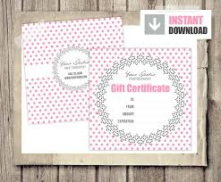 gift card gift certificate template for photographers pink
